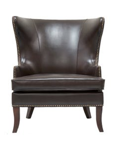 Brown Leather Grant Wing Chair