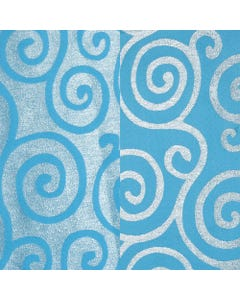 Turquoise Metallic Scroll Runner